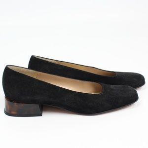Salvatore Ferragamo black suede pump tortoise heel